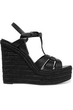 Saint Laurent - Tribute Leather Espadrille Wedge Sandals - Black - IT36