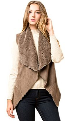 "Luxurious Faux Suede Sherpa Lined Vest (small, Olive). Cascading Front Vest. Faux Sherpa Super Soft Lining. 90% Poly 10% Spandex Hand Wash Do Not Dry Clean. 24"" Long in The Back. Available in Two Colors."