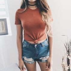 Nadia Knot Tie Crop Top (Rust)