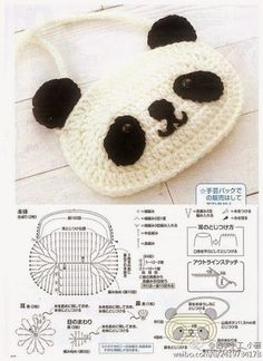 Sac panda au crochet - Sac - Breizh Mama Crochet Panda, Crochet Diy, Crochet Simple, Crochet Mask, Love Crochet, Crochet For Kids, Crochet Dolls, Crochet Sheep, Crochet Gratis