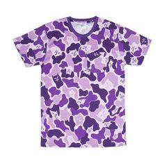 Purple Camo Tee (Purple Camo) RIPNDIP ($32) ❤ liked on Polyvore featuring tops, t-shirts, cat t shirt, purple camo t shirt, camouflage t shirt, camoflage t shirt and camo tees