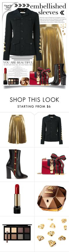 """""""embellished sleeves jacket"""" by teto000 ❤ liked on Polyvore featuring A.L.C., Givenchy, Gucci, Lancôme, Paco Rabanne, Down to Earth, metallic, gucci, metallicskirt and embellishedsleeves"""