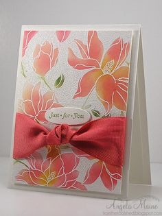 handmade card ... gorgous sponged color in Memento's Cantaloupe and Distress Ink Worn Lipstick ... luv the huge ribbon ... Hero Arts ...