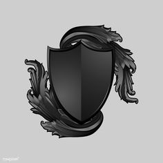 Black Baroque shield elements vector | free image by rawpixel.com / Niwat