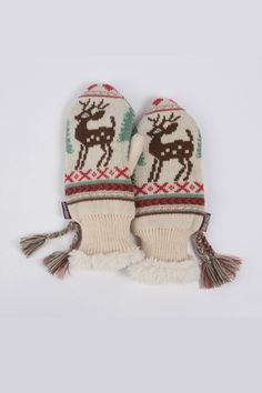 Scandinavian Tassel Mittens In Ivory & Wintergreen