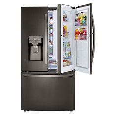 Lg French Door Refrigerator, Counter Depth Refrigerator, Stainless Steel Doors, Black Stainless Steel, Steel Stock, Nebraska Furniture Mart, Updated Kitchen, Interior Lighting, French Doors