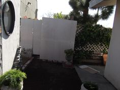 wall and side of garden shack before finish coat