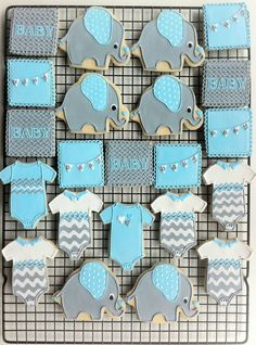 Decorated Elephant Themed Baby Shower Cookies- Custom Grey, Blue, and White Chevrons, Onesies, Personalized Pennants. $ 48