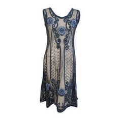 1920's Beaded & Embroidered Tulle Dress