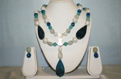 Double Line Semi-Precious Stone Necklace Made With Blue Onyx, Aqua Onyx, Turquoise Onyx, Pearls.