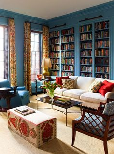 In this installment of Dissecting the Details, we give 4 key features to create a fabulous home office space, inspired by the talented Katie Ridder. decoration for home 4 Key Features of Every Fabulous Home Office Space Home Library Design, House Design, Garden Design, Living Room Decor, Living Spaces, Red Living Rooms, Work Spaces, Dining Rooms, Living Area