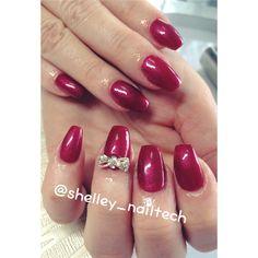 Coffin - Ballerina Shape Nails #gelpolish #silverembellishmentbow