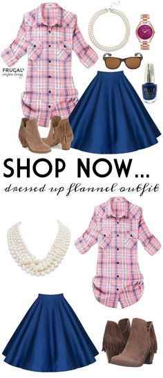 Frugal Fashion Friday Dressed Up Flannel Outfit on Frugal Coupon Living. Mix Flannel and Class with pearls, a blue aline skirt, suede booties and more. Fall Fashion. Holiday Outfit.