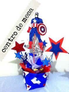 Centró de mesa fiesta Capitan America papel China fomy limpia pipas holi...
