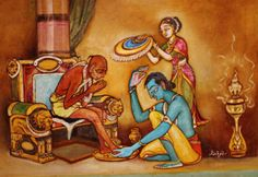 """SB 10.80.20-23: Lord Kṛṣṇa seated His friend Sudāmā upon the bed. Then the Lord, who purifies the whole world, personally offered him various tokens of respect and washed his feet, O King, after which He sprinkled the water on His own head...By fanning him with her cāmara, the divine goddess of fortune personally served that poor brāhmaṇa...""""."""