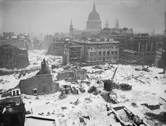 The destruction around St Paul's Cathedral caused by air raids on London is…