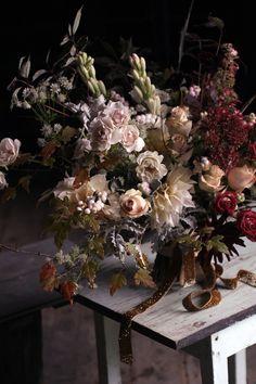 Chocolate cosmos and dahlia wedding bouquet with glitter ribbon Floral Wedding, Fall Wedding, Wedding Bouquets, Wedding Flowers, Hydrangea, Chocolate Cosmos, Arte Floral, Floral Arrangements, Flower Arrangement