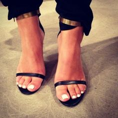 sandals + white toenails + metal cuffs
