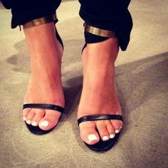sandals + white toenails + metal cuffs