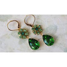 Emerald Crystal Earrings, Swarovski Drop Earrings, Peridot Rhinestone... (€21) ❤ liked on Polyvore featuring jewelry and earrings