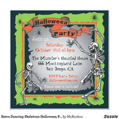 Retro Dancing Skeletons Halloween Party Invitation Adult Halloween Party, Halloween Dress, Halloween Birthday Party Invitations, Scary Terry, Thumb Prints, Halloween Skeletons, Invitation Design, Dancing, Retro