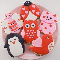 Galletas de San Valentín, pingüino, búho, petirojo, mariquita, mariposa.