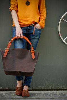 Brown and orange leather bag witch clutch por ladybuq en Etsy