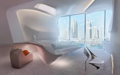 A closer look at the Opus Office Tower in Dubai,designed Zaha Hadid, as construction moving ahead. The Opus Office Tower complex's hotel rooms and apartment… Zaha Hadid Interior, Zaha Hadid Architecture, Interior Architecture, Minimalist Architecture, Zaha Hadid Design, Futuristic Bedroom, Futuristic Interior, Futuristic Design, Futuristisches Design