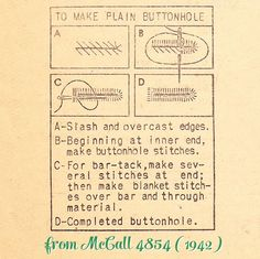 working plain buttonholes by hand (1942)  minky changing pad needs buttonholes bigger than my machine can make, and the buttonhole is in the directionnof greatest stretch so no machining it   might as well learn, right?