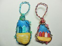Pastel beach hut christmas tree decorations  by ShePaintsSeaglass