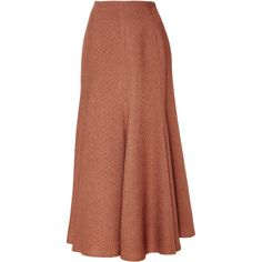 Paneled Flared Skirt   Moda Operandi (2,980 SAR) ❤ liked on Polyvore featuring skirts, knee length a line skirt, brown skater skirt, brown a line skirt, circle skirt and brown skirt