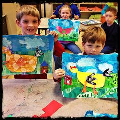"""it's an HSES Arty Party! Show various kinds of illustrations. """"Blue Chicken,"""" Eric Carle, Big Chicken so they can learn about different characters and techniques to creating illustrations. Have them collage the background and animal of their choice. Chicken Art, Blue Chicken, First Grade Art, Animal Art Projects, Collage Techniques, Farm Art, Spring Art, Summer Art, Kindergarten Art"""