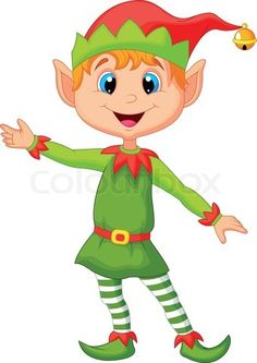 Cartoon Elf | Stock vector of 'Cute christmas cartoon elf presenting'