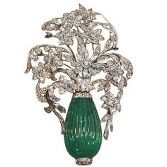 Carved emerald bead flower pot brooch, platinum & diamond