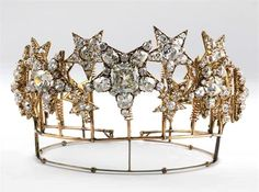 The Diadem of the Stars (Diadema das Estrelas) commissioned by Queen Cosort Maria Pia of Savoy, wife of  King Luís I of Portugal in 1863 and completed in 1866. The tiara has both colorless and pink diamonds.