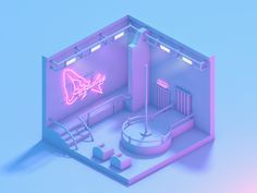 Photo: Made an isometric strip club because I had nothing better to do xD Paradise indeed #lowpoly #Cinema4D