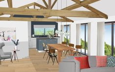 Visual of modern barn conversion in the Lake District. Modern Barn, Lake District, Pergola, Outdoor Structures, Table, Room, Furniture, Home Decor, Bedroom
