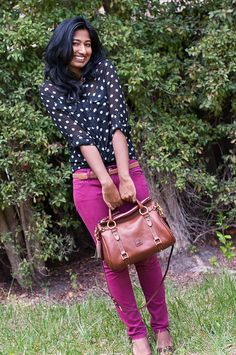 Brightening up Neutral Polka Dots with Colored Jeans-6 by dressuponacloudyday, via Flickr
