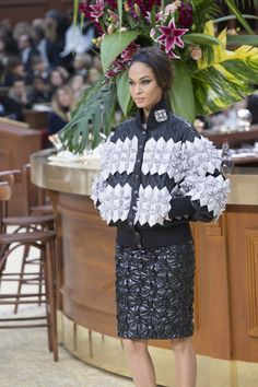 Joan Smalls backstage at Chanel fall RTW