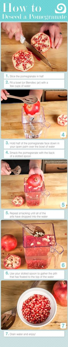 How to remove pomegranate seeds.