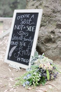 marisol  tim Photo By Alders Photography Choose a seat...not a side... were all family once the knot is tied #diy #signs #chalksigns #wedding #bridal #feathers #flowers