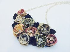 Paper rose bib necklace  heart necklace rose by TheCreativeBee