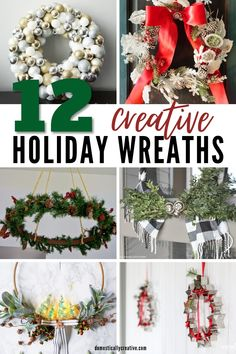 Beautiful and unique DIY holiday wreaths to inspire you this season. I am in love with all of these festive wreath ideas for the front door and more. Great for Christmas or for winter.#domesticallycreative #christmaswreath #winterwreath #wreath #diy Homemade Christmas Decorations, Christmas Crafts For Kids To Make, Christmas Fun, Diy Wreath, Wreath Ideas, Holiday Wreaths, Holiday Decor, Festive, Creative Crafts