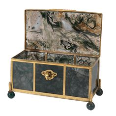 Large Agate Jewel Casket with Bronze Dore Mounts | From a unique collection of vintage boxes and cases at https://www.1stdibs.com/jewelry/objets-dart-vertu/boxes-cases/