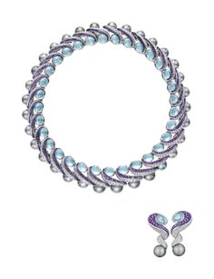 MAUBOUSSIN A Cultured Pearl, Aquamarine, Amethyst and Diamond Suite  Anecklace, composed of a series of scroll links, accented by circular-cut diamonds and calibré-cut amethysts, to the cabochon aquamarine and cultured pearl terminals; a pair of ear pendants en suite, mounted in 18K white gold,  Signed 'Mauboussin Paris', no.49498, with French assay marks.