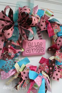 ribbon wreath. super cute door decoration for party.