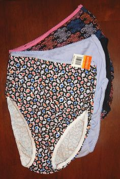 NWT Warner's Cotton Brief Panty 5/Small 3-Pack Black Multi-color & Purple #6103K #Warners #BriefsHiCuts