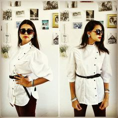 Vintage White pleated blouse/Collar blouse with by girlsaboutcity