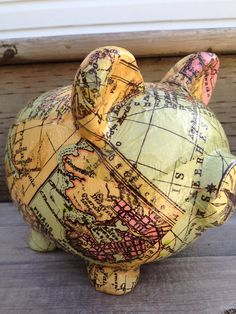 Saving my pennies to see the world :) Old World Map Decoupage Ceramic Piggy Bank  by LilandJilDesigns, $45.00