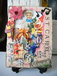 #Christmas #ATC (artist trading card), pieced  3-D layered card w/vintage postcard back, ink, stickers, other embellishments